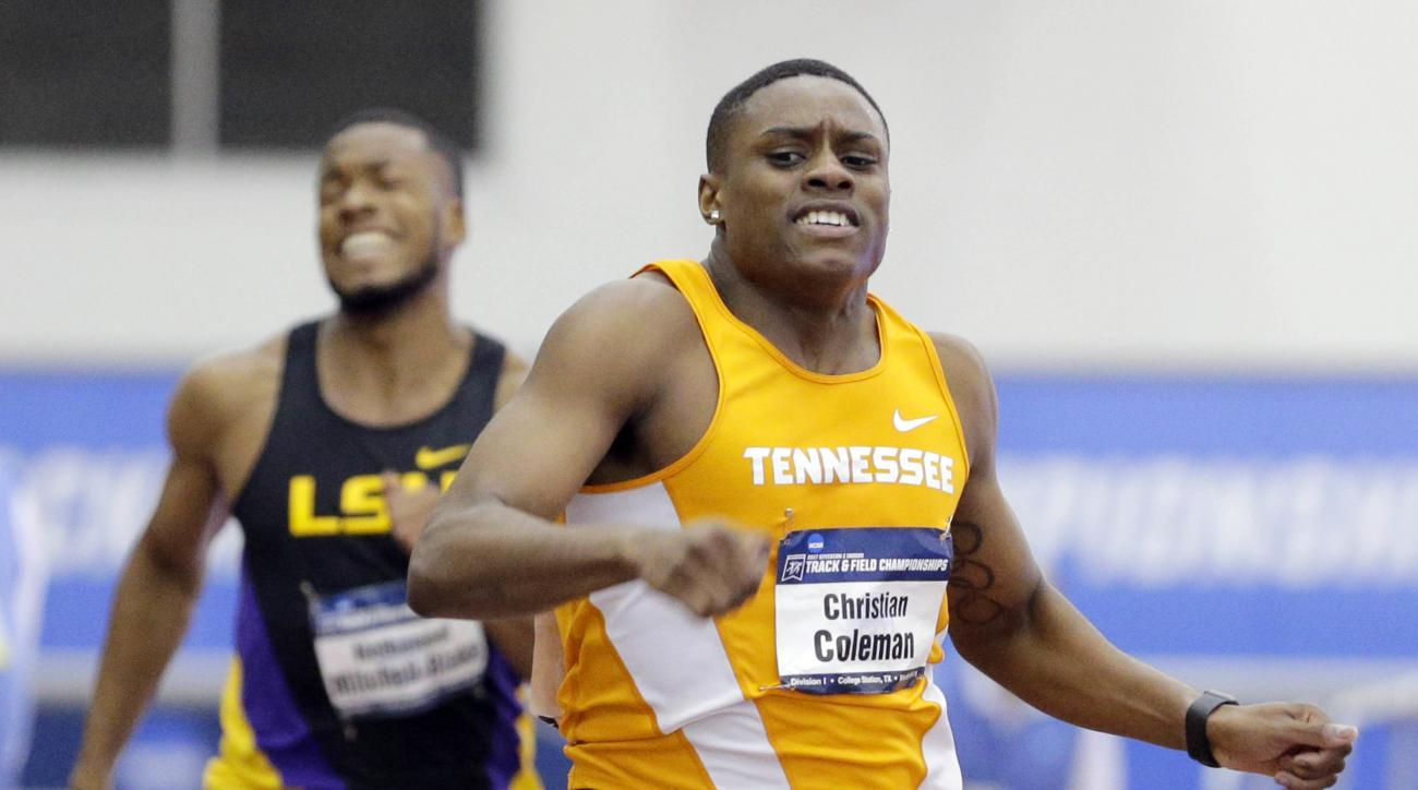 FILE - In this March 11, 2017, file photo, Tennesee's Christian Coleman wins the men's 200 meter dash ahead of LSU's Nethaneel Mitchell-Blake at the NCAA indoor track and field championships in College Station, Texas. Christian Coleman is having a big yea