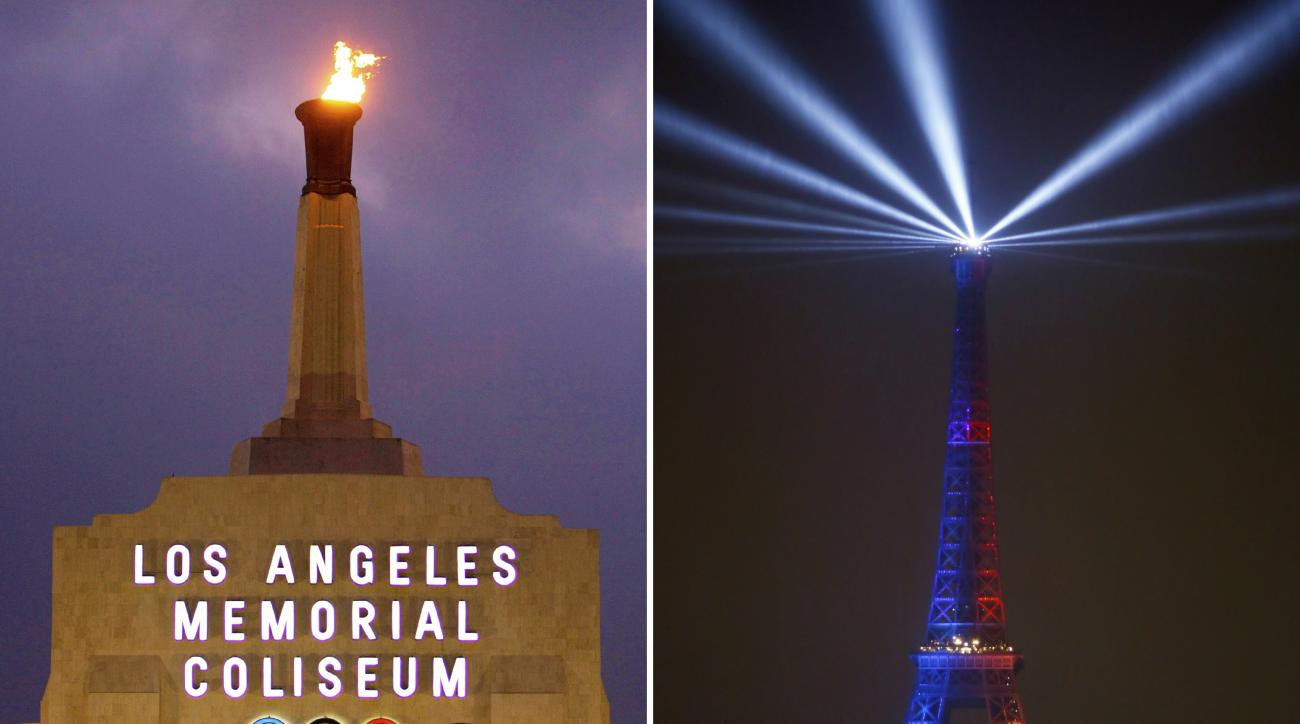 FILE - At left is a Feb. 13, 2008, file photo showing the facade of Los Angeles Memorial Coliseum in Los Angeles. At right, in a Feb. 3, 2017, file photo, the Eiffel Tower is lit with colors for Paris 2024 during the launch of the international campaign o