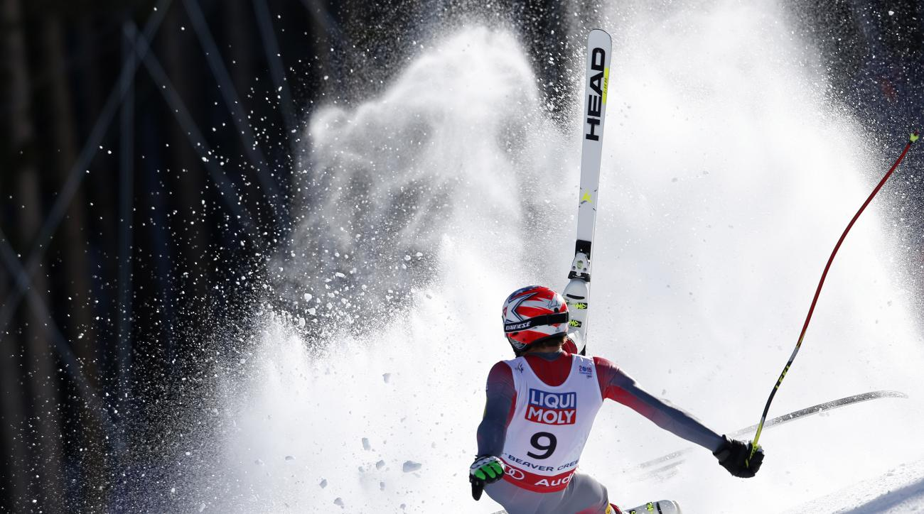In this photo provided by Pentaphoto, United States' Bode Miller crashes during the men's super-G competition at the alpine skiing world championships, Thursday, Feb. 5, 2015, in Beaver Creek, Colo. Miller did not finish the race. (AP Photo/Pentaphoto, Sh