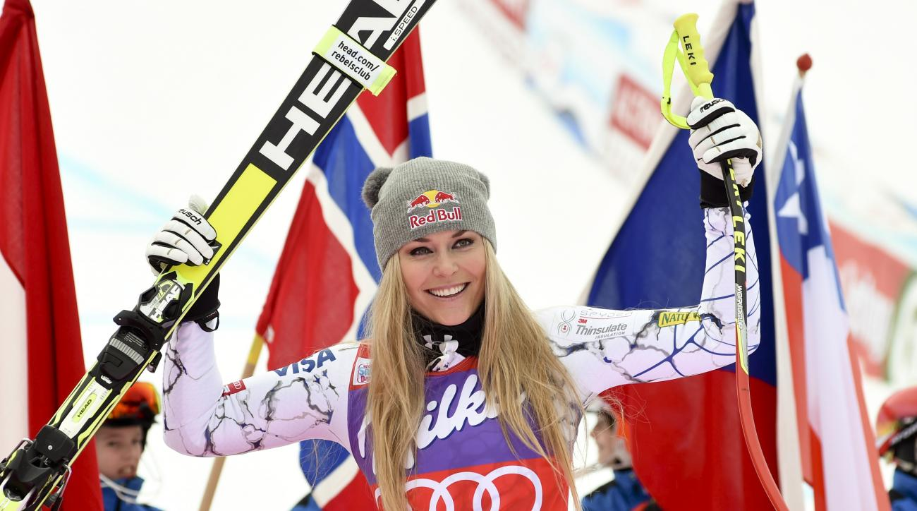 FILE - In this Jan. 9, 2016, file photo, Lindsey Vonn, of the United States, celebrates in the finish area after winning an alpine ski, women's World Cup downhill, in Altenmarkt-Zauchensee, Austria. Chasing the ski World Cup wins record next season, Linds
