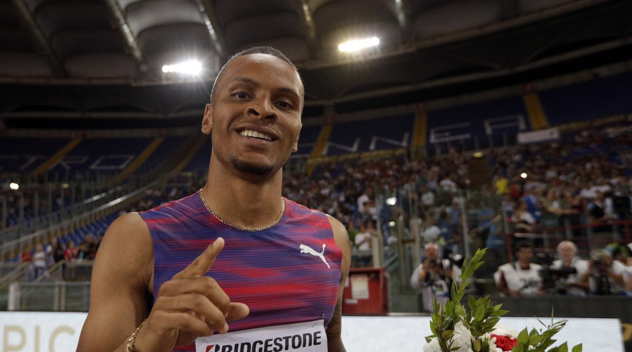 Canada's Andre De Grasse celebrates after winning a men's 200m during the Golden Gala Pietro Mennea athletics meeting, in Rome's Olympic stadium, Thursday, June 8, 2017. (AP Photo/Andrew Medichini)
