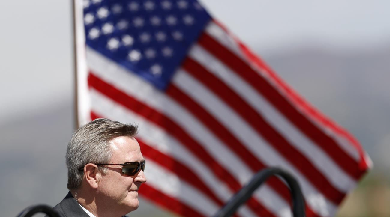 Scott Blackmun, chief executive officer of the U.S. Olympic Committee, looks on during a ceremonial groundbreaking for a new Olympic museum Friday, June 9, 2017, in Colorado Springs, Colo. The $75-million project will be built just blocks away from the U.