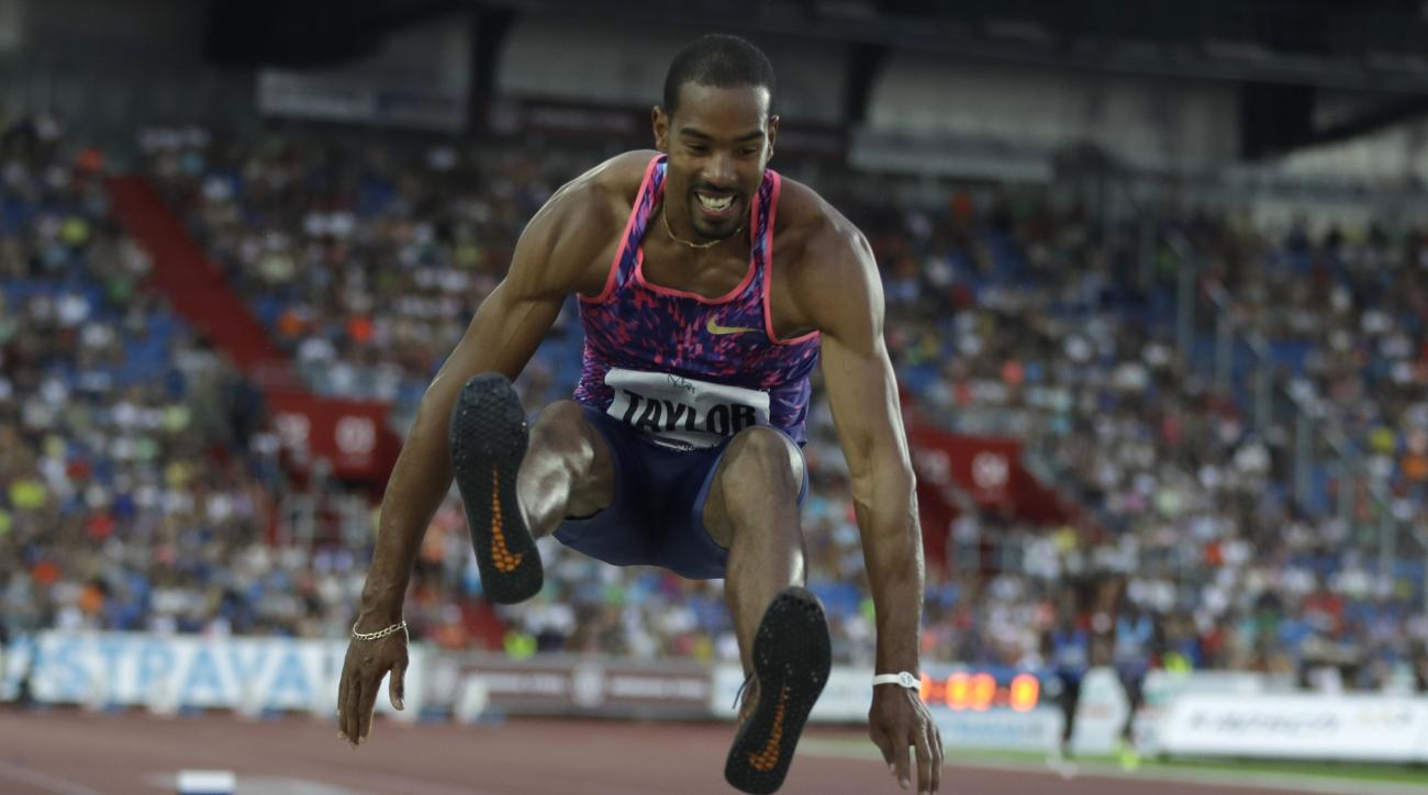 Christian Taylor from the U.S. competes in the triple jump men's event at the Golden Spike athletic meeting in Ostrava, Czech Republic, Wednesday, June 28, 2017. (AP Photo/Petr David Josek)