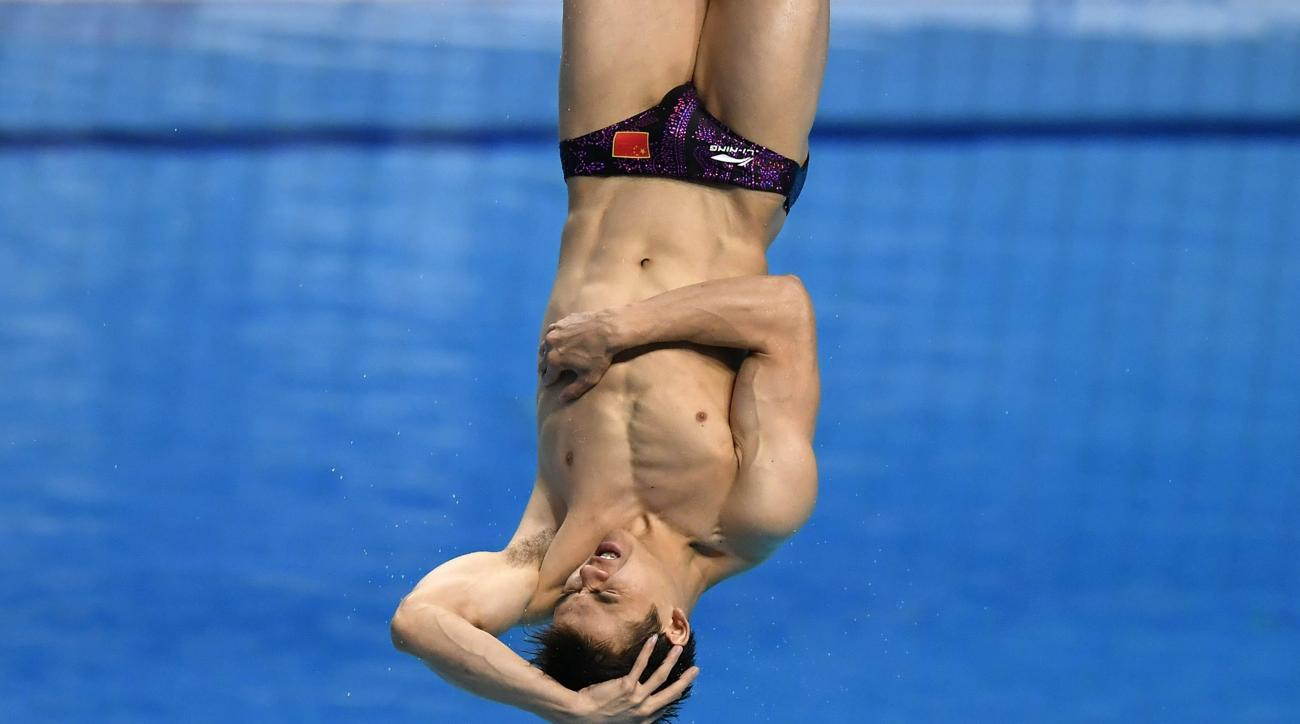 Jianfeng Peng of China competes in the men's diving 1m springboard final at the Swimming World Championships 2017 in Duna Arena in Budapest, Hungary, Sunday, July 16, 2017. (Tibor Illyes/MTI via AP)
