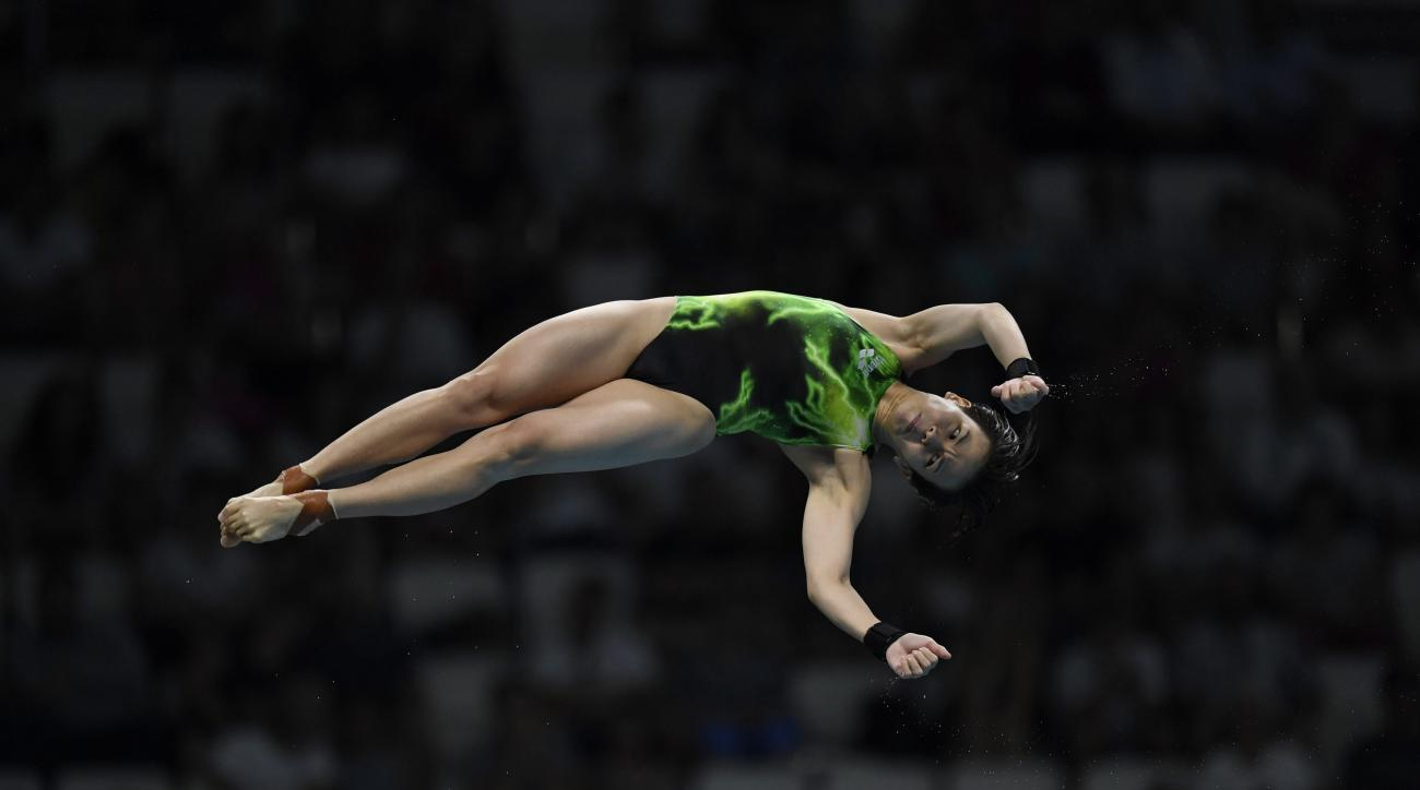 Cheong Jun Hoong of Malaysia competes to win the women's Diving 10m Platform Final of the 17th FINA Swimming World Championships in Duna Arena in Budapest, Hungary, Wednesday, July 19, 2017. (Tibor Illyes/MTI via AP)