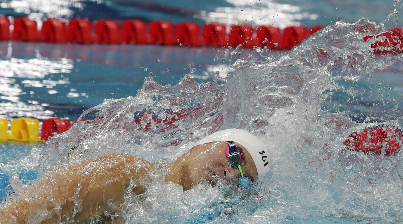 China's Sun Yang competes in his men's 400-meter freestyle heat during the swimming competitions of the World Aquatics Championships in Budapest, Hungary, Sunday, July 23, 2017. (AP Photo/Michael Sohn)