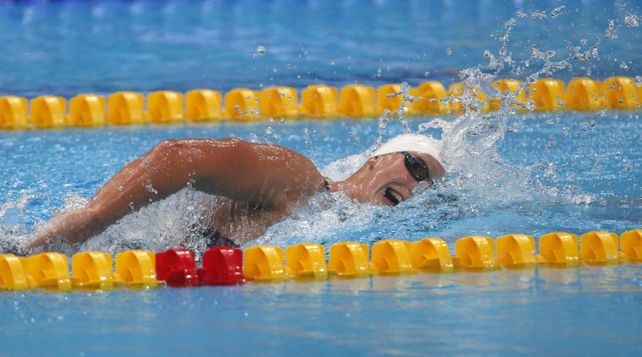 United States' Katie Ledecky competes in a women's 1500-meter freestyle heat during the swimming competitions of the World Aquatics Championships in Budapest, Hungary, Monday, July 24, 2017. (AP Photo/Darko Bandic)