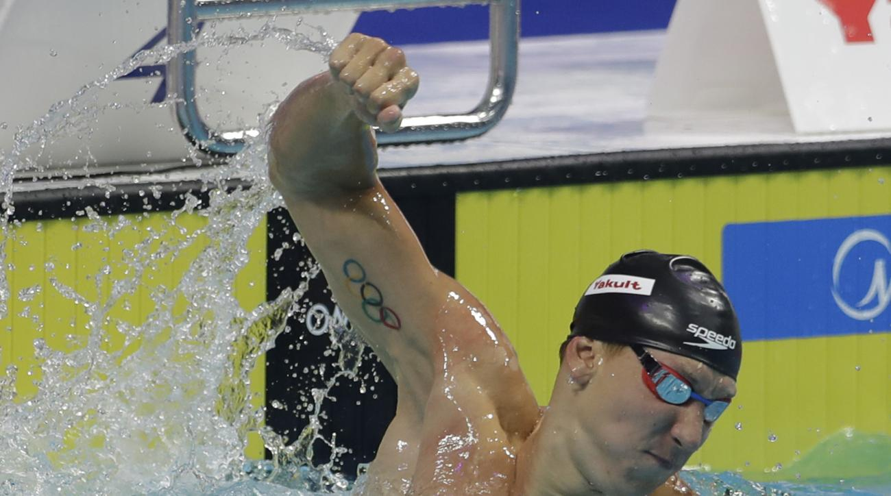 United States' Chase Kalisz celebrates after winning the gold medal in the men's 200-meter individual medley final during the swimming competitions of the World Aquatics Championships in Budapest, Hungary, Thursday, July 27, 2017. (AP Photo/Petr David Jos