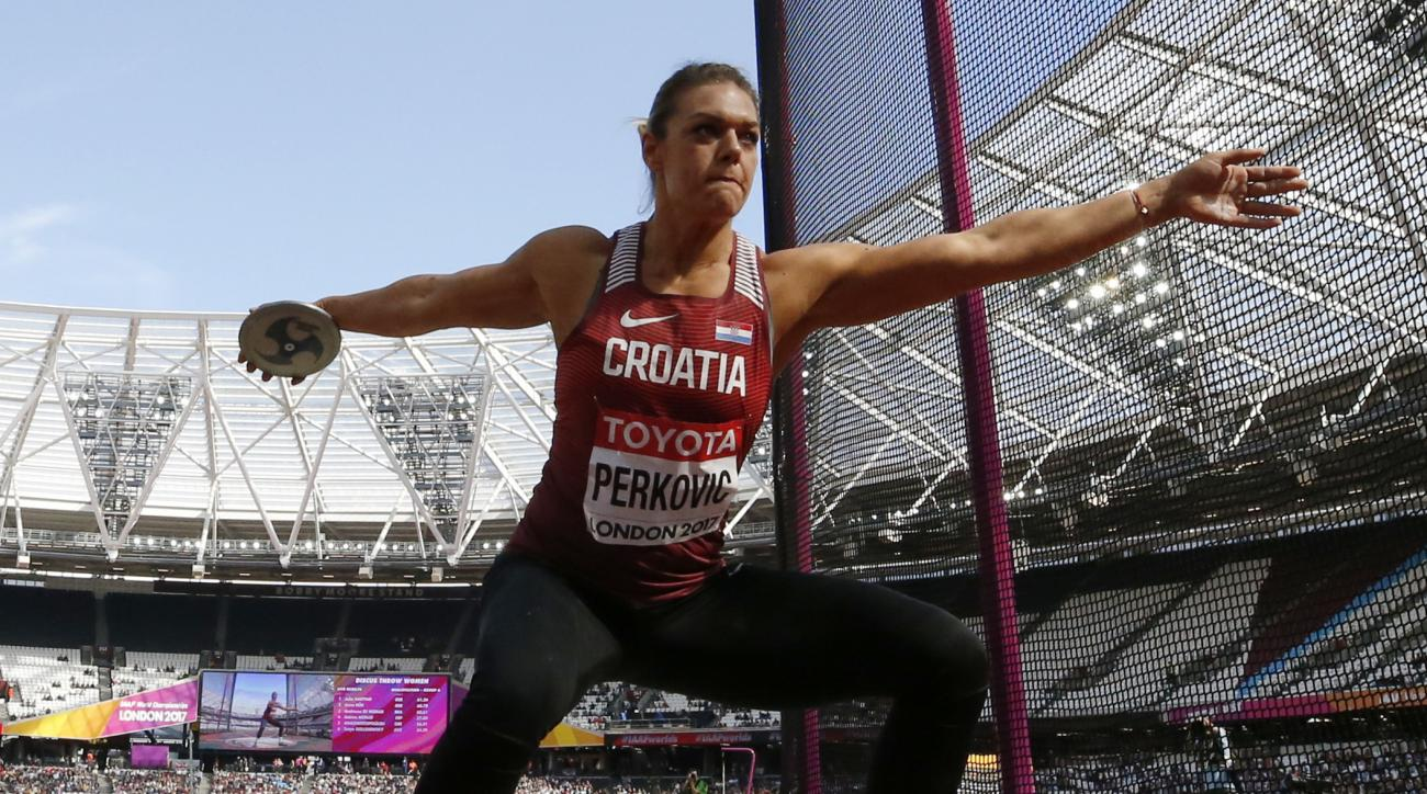 Croatia's Sandra Perkovic makes an attempt in the women's discus qualification during the World Athletics Championships in London Friday, Aug. 11, 2017. (AP Photo/Matt Dunham)