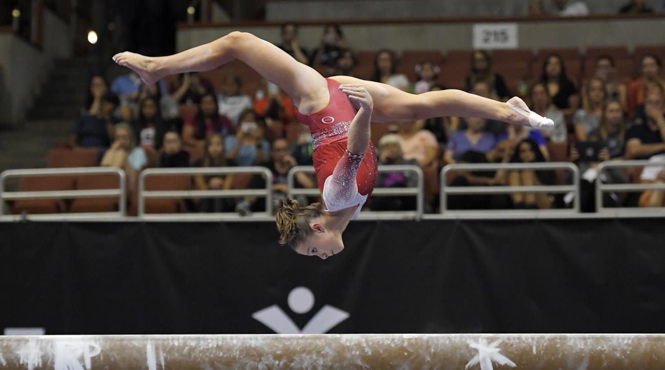 Ragan Smith competes on the balance beam during the opening round of the U.S. women's gymnastics championships, Friday, Aug. 18, 2017, in Anaheim, Calif. (AP Photo/Mark J. Terrill)