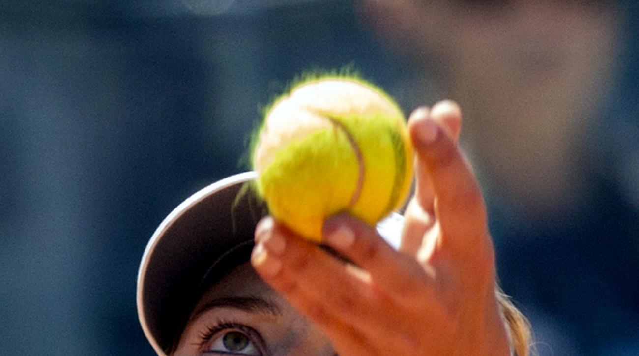 Russia's Maria Sharapova serves the ball to Australia's Jarmila Gajdosova during their match at the Italian Open tennis tournament, in Rome, Tuesday, May 12, 2015. (AP Photo/Riccardo De Luca)