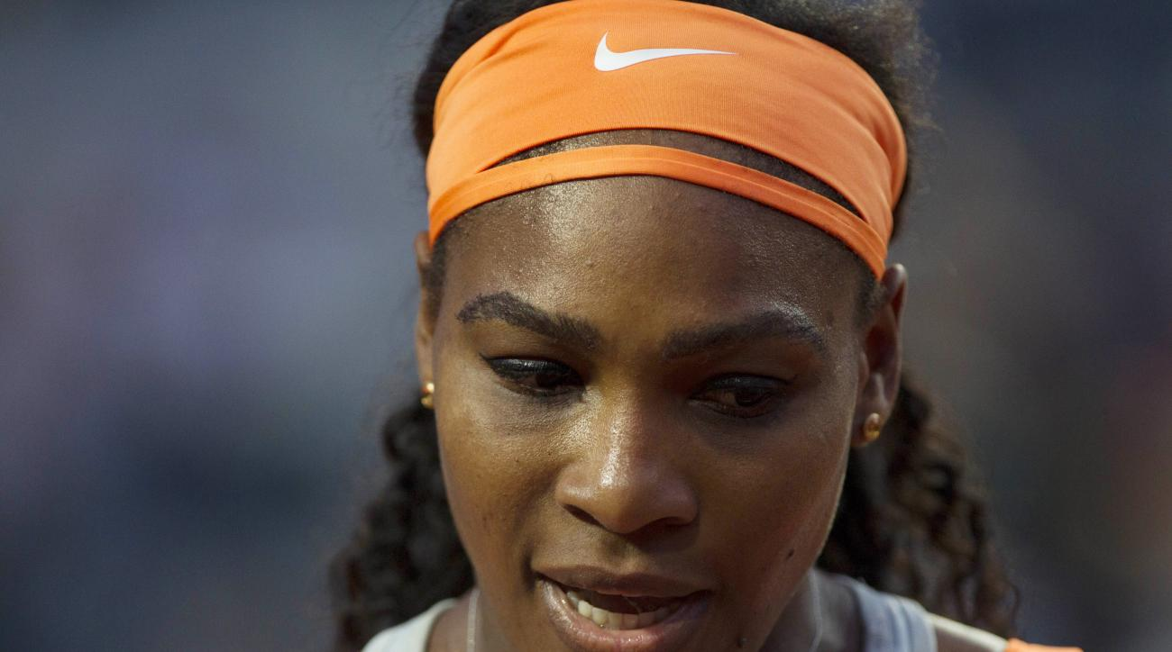 Serena Williams of the US reacts after winning a point during her match against Russia's Anastasia Pavlyuchenkova at the Italian Open tennis tournament, in Rome, Tuesday, May 12, 2015. (AP Photo/Riccardo De Luca)