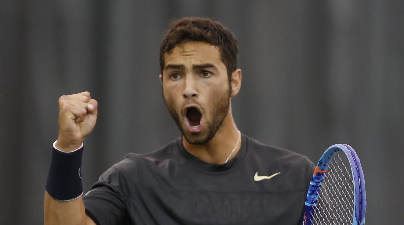 Wake Forest Noah Rubin reacts to a point during a NCAA men's tennis finals Monday, May 25, 2015, in Waco, Texas. (AP Photo/Rod Aydelotte)