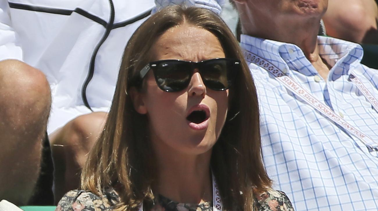 Kim Sears, wife of Britain's Andy Murray,  gestures as she watches Murray lose the semifinal match of the French Open tennis tournament against Serbia's Novak Djokovic in five sets 6-3, 6-3, 5-7, 5-7, 6-1, at the Roland Garros stadium, in Paris, France, S