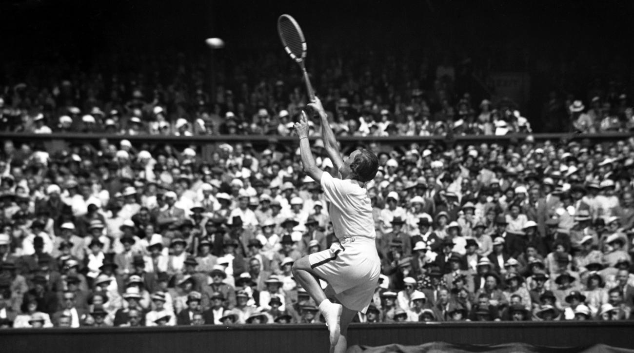 FILE - In this July 6, 1935 file photo, Helen Wills Moody regains the women's singles championship when she defeated Helen Jacobs in the final at the All England Lawn Tennis Championships in Wimbledon, London. Wills Moody won eight Wimbledon titles in an