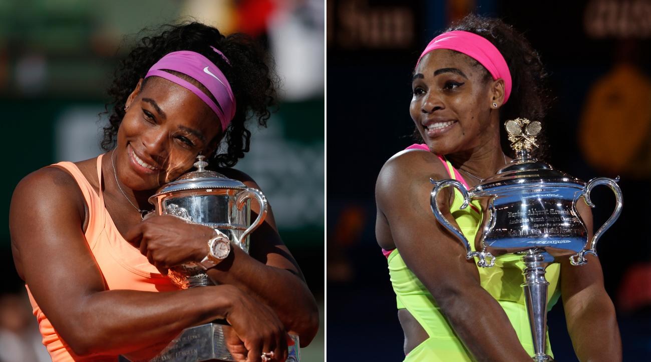 ADVANCE FOR WEEKEND EDITIONS, AUG. 29-30 - FILE - At left, in a June 6, 2015, file photo,Serena Williams holds the trophy after winning the final of the French Open tennis tournament against Lucie Safarova in Paris, France. At right, in a Jan. 31, 2015, f