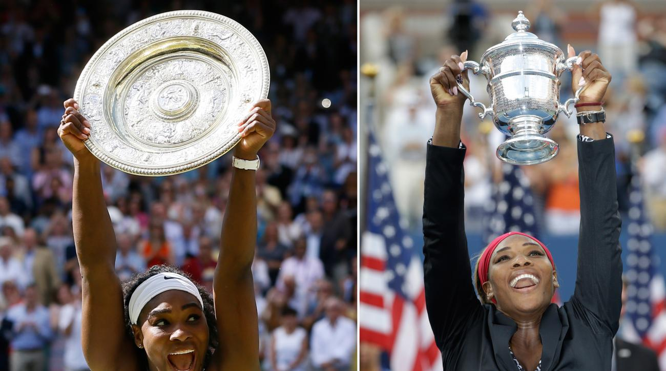 ADVANCE FOR WEEKEND EDITIONS, AUG. 29-30 - FILE -  At left, in a July 11, 2015, file photo, Serena Williams reacts as she holds the trophy after winning the women's singles final against Garbine Muguruza of Spain, at the All England Lawn Tennis Championsh
