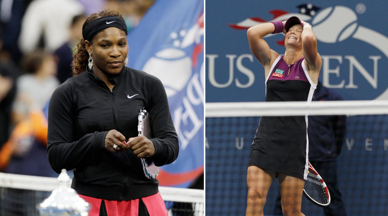 ADVANCE FOR WEEKEND EDITIONS, AUG. 29-30 - FILE - At left, in a Sept. 11, 2011, file photo, Serena Williams looks at the championship trophy after losing the women's championship match to Samantha Stosur at the U.S. Open tennis tournament in New York. At