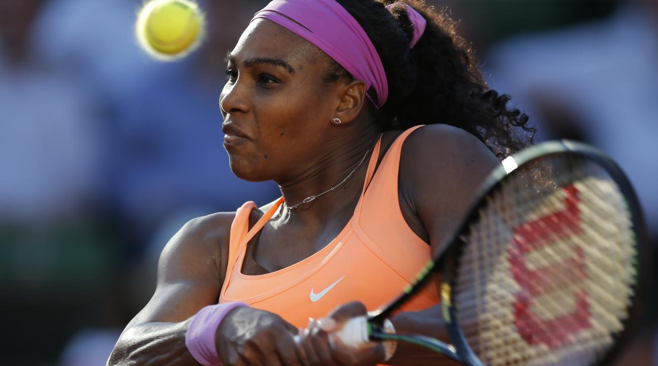 ADVANCE FOR WEEKEND EDITIONS, AUG. 29-30 -  - FILE - In this June 4, 2015, file photo, Serena Williams returns in her semifinal match of the French Open tennis tournament against Timea Bacsinszky of Switzerland in Paris, France. Serena Williams is the No.