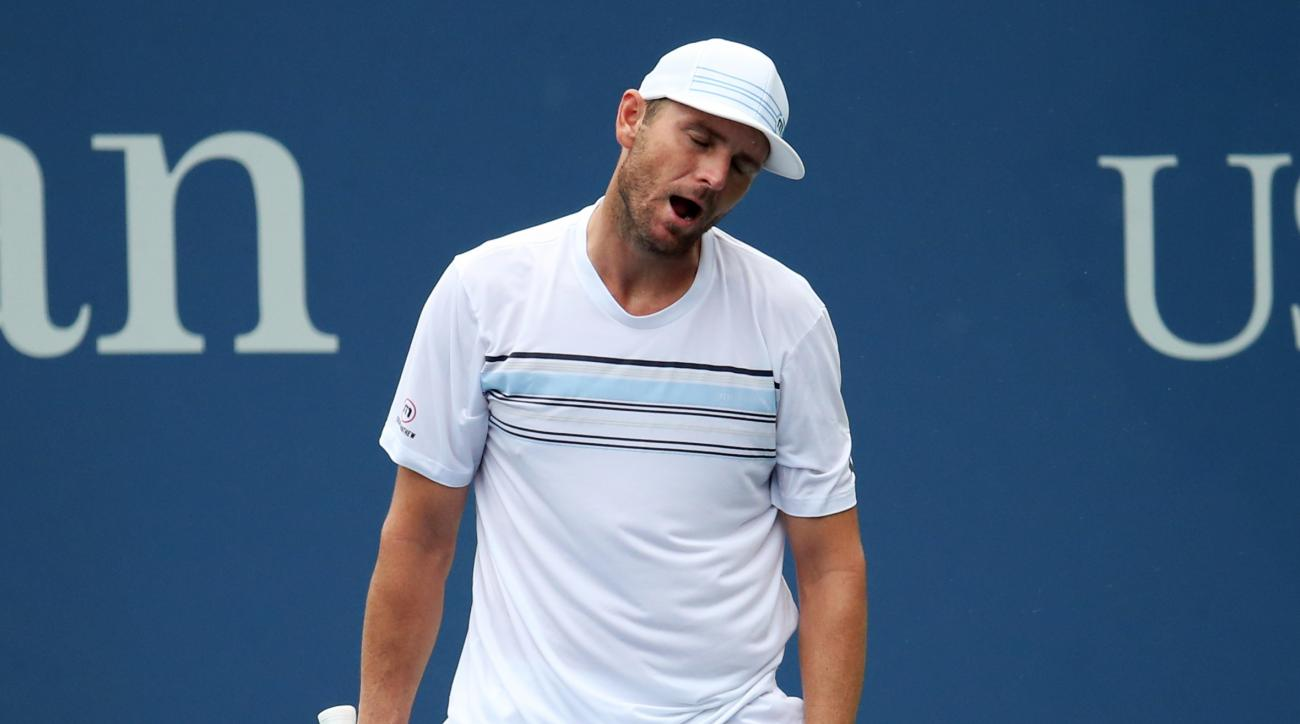 Mardy Fish reacts after losing a point to Marco Cecchinato, of Italy, during the first round of the U.S. Open tennis tournament, Monday, Aug. 31, 2015, in New York. (AP Photo/Adam Hunger)