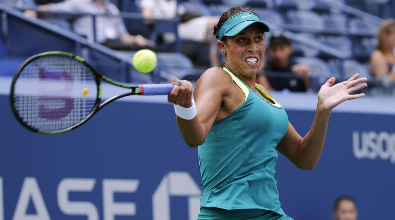 Madison Keys, of the United States, returns a shot to Tereza Smitkova, of the Czech Republic, during the second round of the U.S. Open tennis tournament, Wednesday, Sept. 2, 2015, in New York. (AP Photo/Charles Krupa)