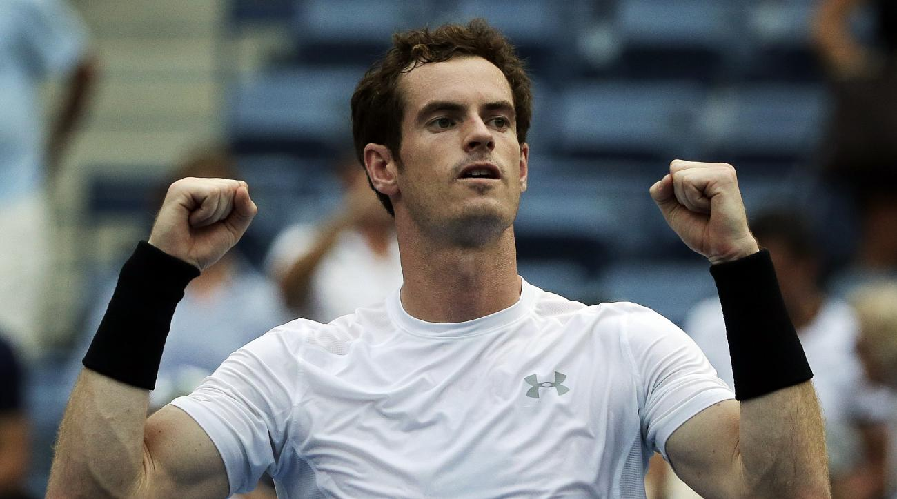 Andy Murray, of the United Kingdom, reacts after defeating Adrian Mannarino, of France, during the second round of the U.S. Open tennis tournament, Thursday, Sept. 3, 2015, in New York. (AP Photo/Charles Krupa)