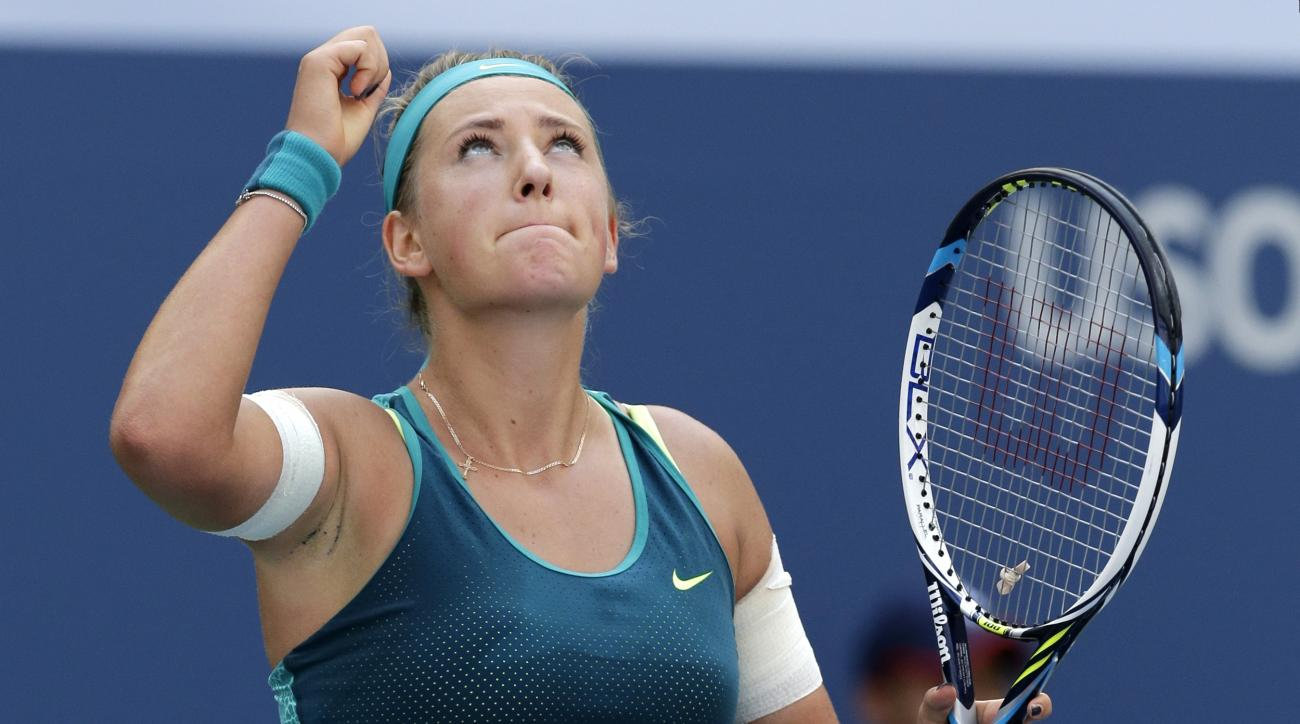 Victoria Azarenka, of Belarus, reacts after defeating Varvara Lepchenko, of the United States, during the fourth round of the U.S. Open tennis tournament, Monday, Sept. 7, 2015, in New York. (AP Photo/Charles Krupa)