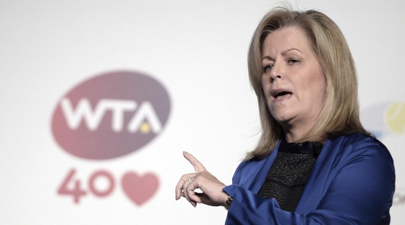 FILE - In this Oct. 21, 2013, file photo, WTA Chairwoman and CEO Stacey Allaster  speaks at a tennis news conference at the WTA Championships in Istanbul, Turkey, Turkey. The Women's Tennis Association announced Tuesday, Sept. 22, 2015, that Allaster will