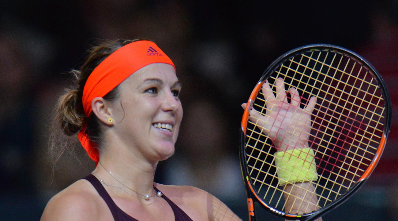 Russia's Anastasia Pavlyuchenkova celebrates after her final match against Germany's Anna-Lena Friedsam at the Generali Ladies tennis tournament in Linz, Austria, on Sunday, Oct. 18, 2015. Pavlyuchenkova won with 6-4 and 6-3. (AP Photo/Kerstin Joensson)