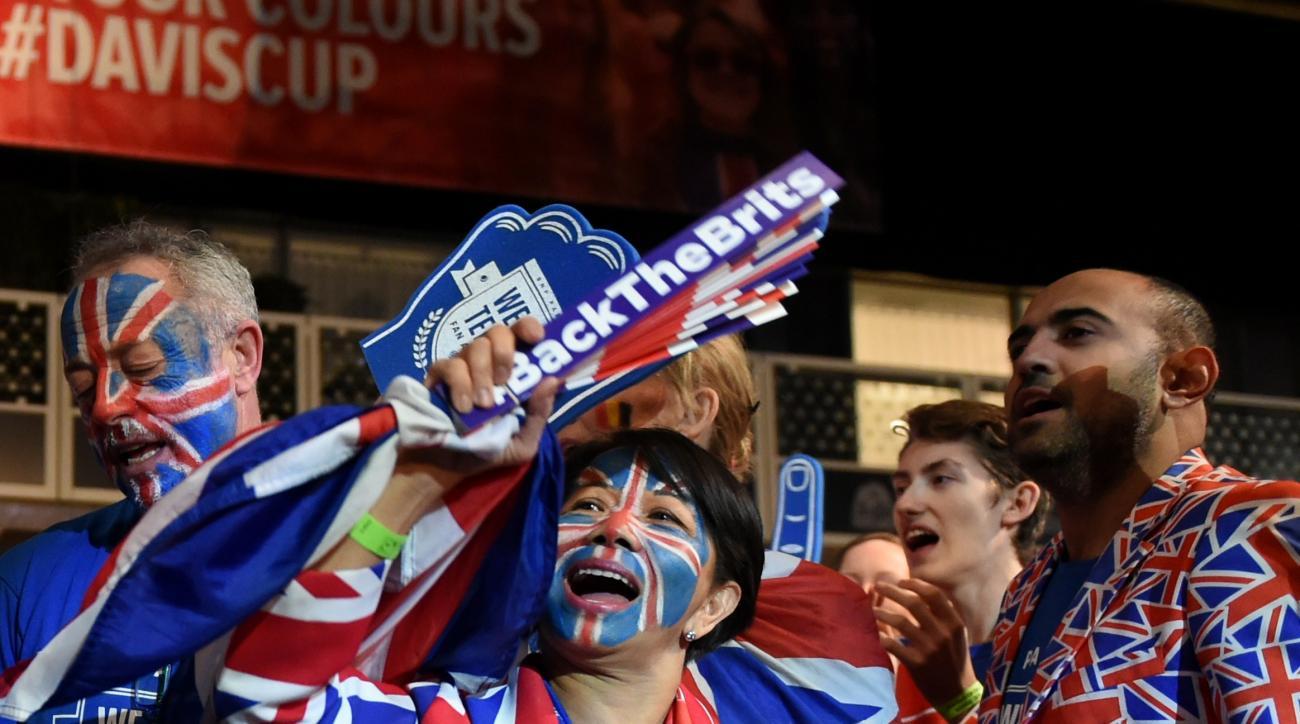 Great Britain's fans chant prior the Davis Cup final doubles tennis match between Belgium and Great Britain at the Flanders Expo in Ghent, Belgium, Saturday, Nov. 28, 2015. (AP Photo/Geert Vanden Wijngaert)