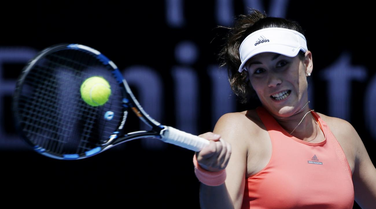 Garbine Muguruza of Spain makes a forehand return to Anett Kontaveit of Estonia during their first round match at the Australian Open tennis championships in Melbourne, Australia, Tuesday, Jan. 19, 2016.(AP Photo/Aaron Favila)