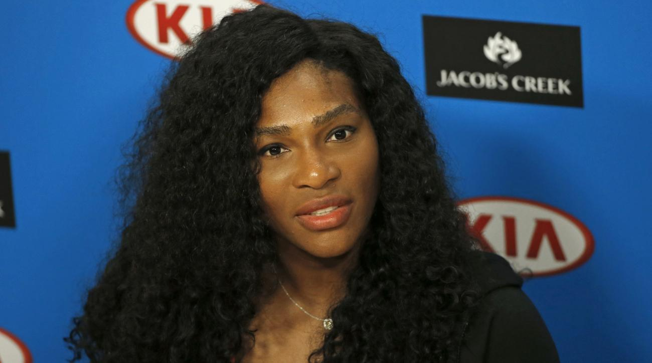 Serena Williams of the United States speaks during a press conference, ahead of Saturday's women's singles final against Angelique Kerber of Germany at the Australian Open tennis championships in Melbourne, Australia, Friday, Jan. 29, 2016.(AP Photo/Shuji