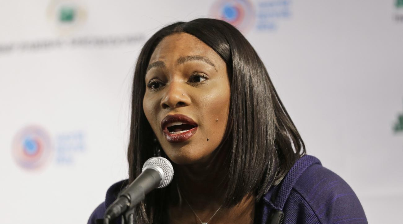 "Serena Williams talks to reporters at a news conference in New York, Tuesday, March 8, 2016. Williams says Maria Sharapova ""showed a lot of courage"" in taking responsibility for her failed drug test. The 21-time major champion said Tuesday she ""hoped for"