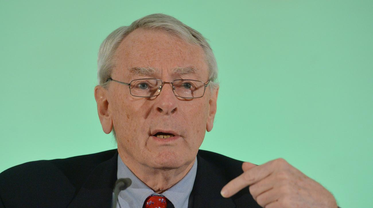 FILE - This is a Thursday, Jan. 14, 2016. file photo of Canadian Dick Pound, Chairman of WADA's (World Anti-Doping Agency) Independent Commission (IC), presents the findings of his Commission's Report surrounding allegations of doping in sport, during a p