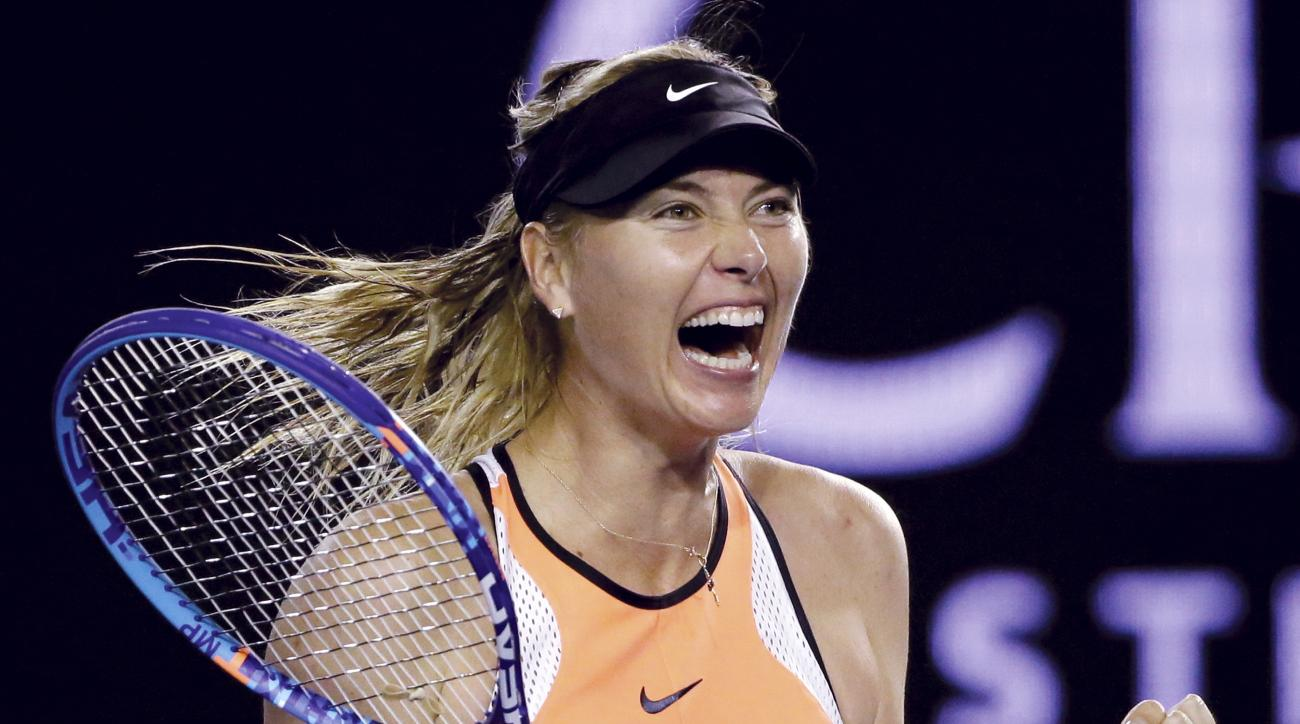 FILE - In this Sunday, Jan.  24, 2016, file photo, Maria Sharapova of Russia celebrates after defeating Belinda Bencic of Switzerland in their fourth round match at the Australian Open tennis championships in Melbourne, Australia. Sharapova's racket suppl