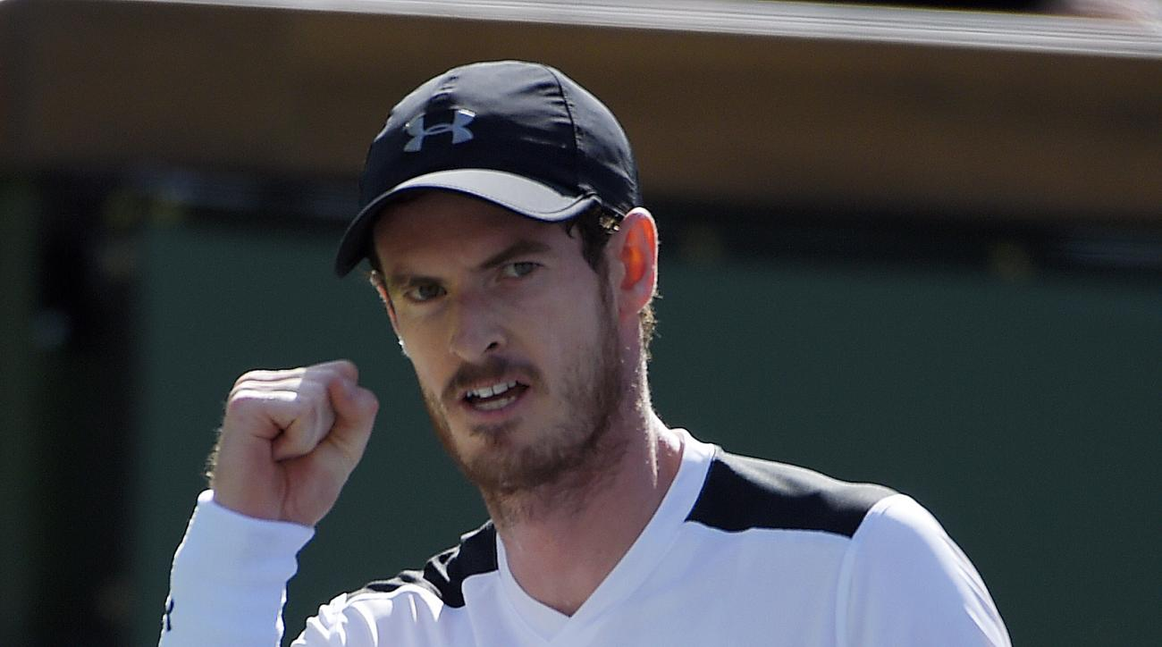 Andy Murray, of Great Britain, celebrates after winning a point against Federico Delbonis, of Argentina, during their match at the BNP Paribas Open tennis tournament, Monday, March 14, 2016, in Indian Wells, Calif. (AP Photo/Mark J. Terrill)