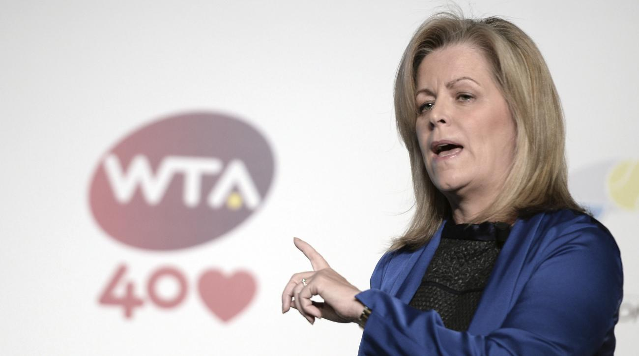 WTA Chairwoman and CEO Stacey Allaster  speaks in Istanbul, Turkey, Monday, Oct. 21, 2013, a day before start of the WTA Championships.  The world's top female tennis players will compete in the championships which runs from Oct. 22 until Oct. 27.(AP Phot