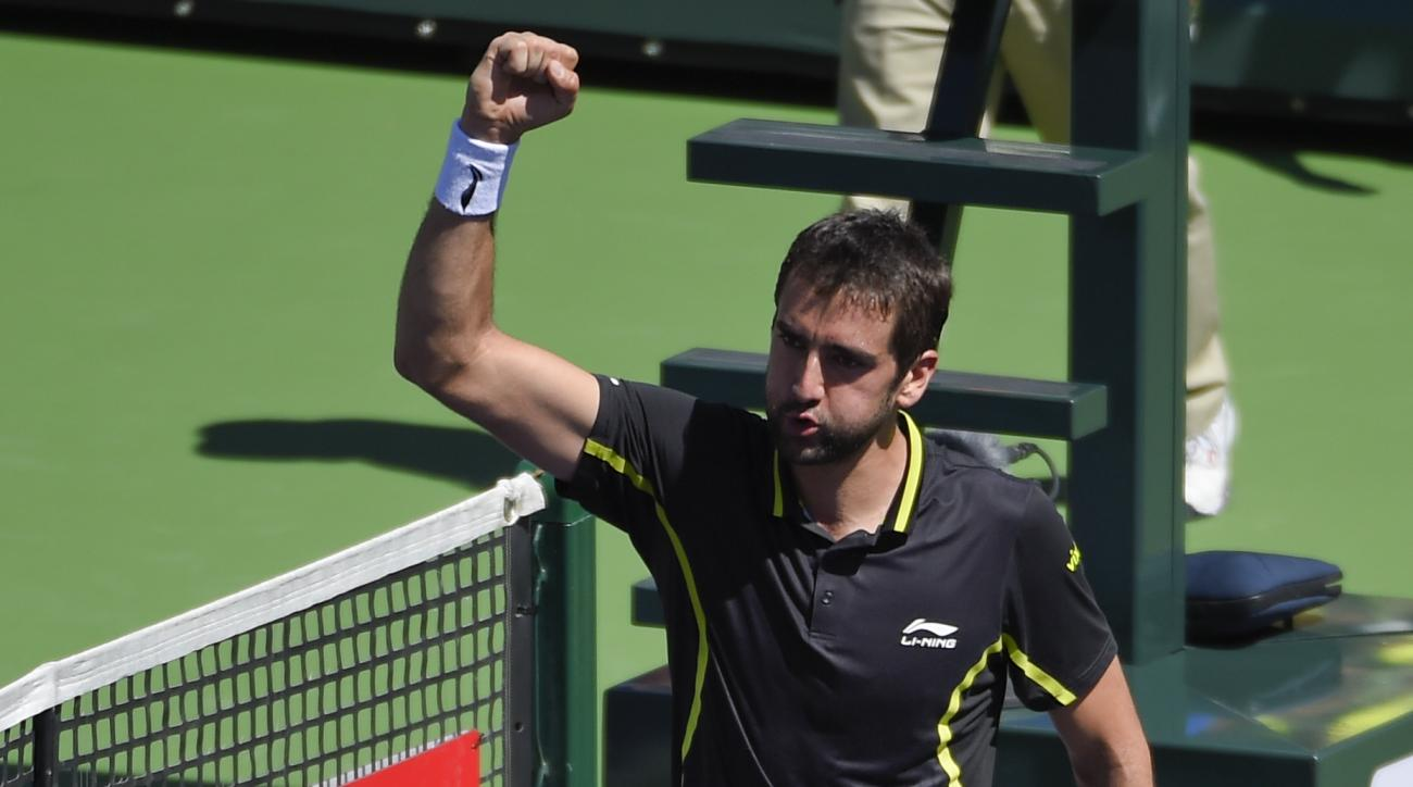 Marin Cilic, of Croatia, reacts after defeating Richard Gasquet, of France, during the BNP Paribas Open tennis tournament, Wednesday, March 16, 2016, in Indian Wells, Calif. (AP Photo/Mark J. Terrill)