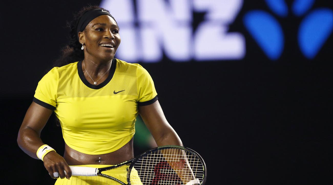 FILE - In this Jan. 28, 2016, file photo, Serena Williams smiles during her semifinal match against Agnieszka Radwanska of Poland at the Australian Open tennis championships in Melbourne, Australia. Top-ranked Williams recounted Sunday, May 8, how she cam