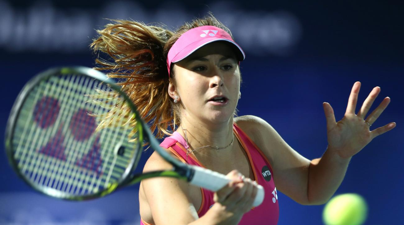 Belinda Bencic of Switzerland reacts in a match against Jelena Jankovic from Serbia during the second day of the Dubai Tennis Championships in Dubai, United Arab Emirates, Tuesday, Feb. 16, 2016. (AP Photo/Kamran Jebreili)