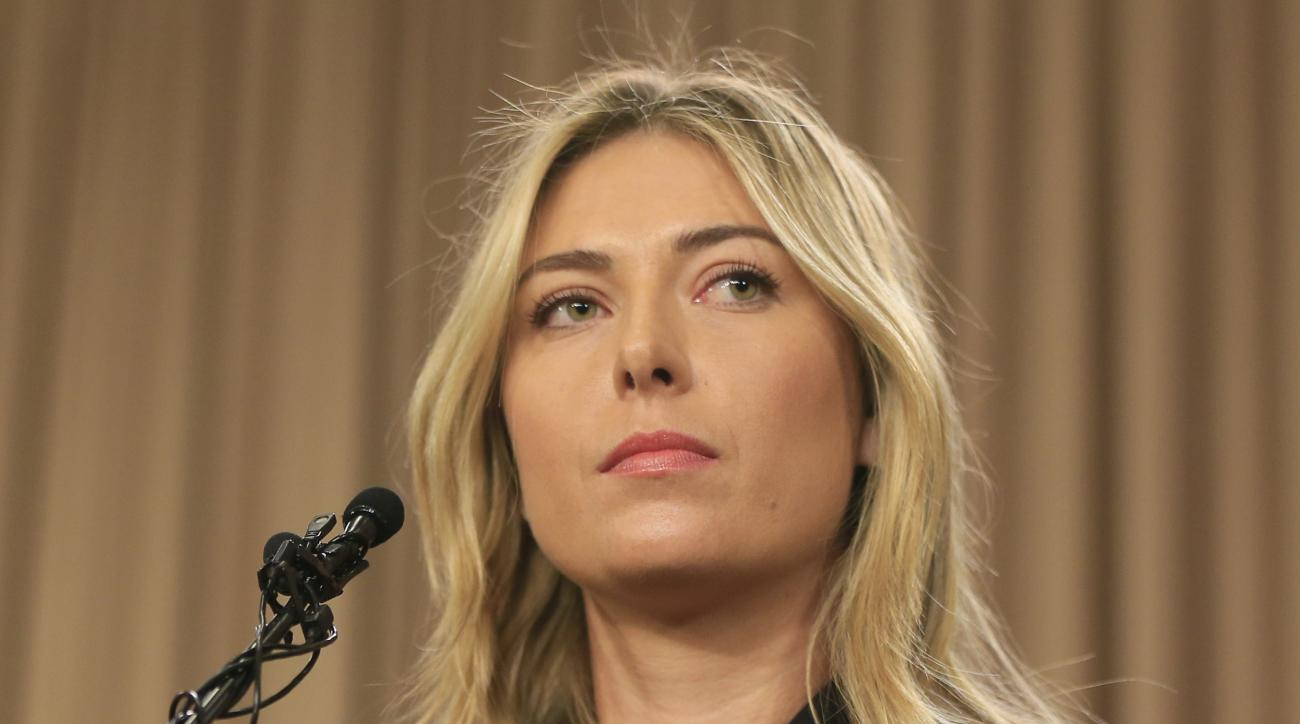 FILE - This is a Monday, March 7, 2016 file photo showing tennis star Maria Sharapova speakings about her failed drug test at the Australia Open during a news conference in Los Angeles. The head of the Russian Tennis Federation Shamil Tarpishchev said Mar