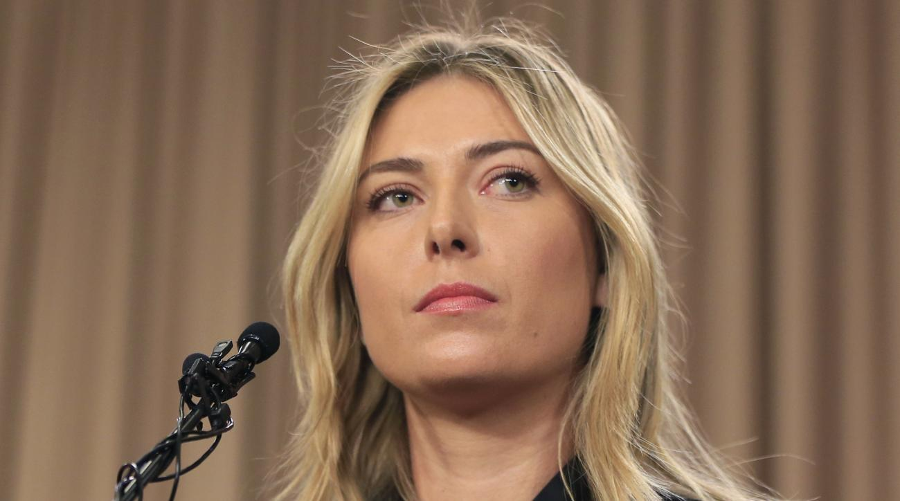 FILE - This is a Monday, March 7, 2016 file photo showing tennis star Maria Sharapova speakings about her failed drug test at the Australia Open during a news conference in Los Angeles. Sharapova has been suspended for two years by the International Tenni