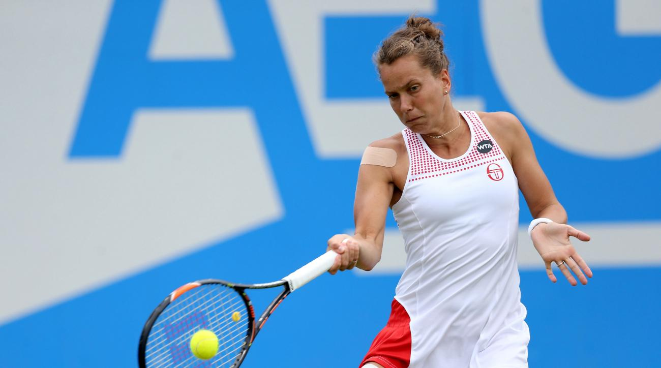 Czech Republic's Barbora Strycova returns a shot to Madison Keys,  during the singles final match between Madison Keys and Barbora Strycova, on day seven of the Birmingham Classic women's tennis tournament at the Edgbaston Priory, Birmingham, central Engl
