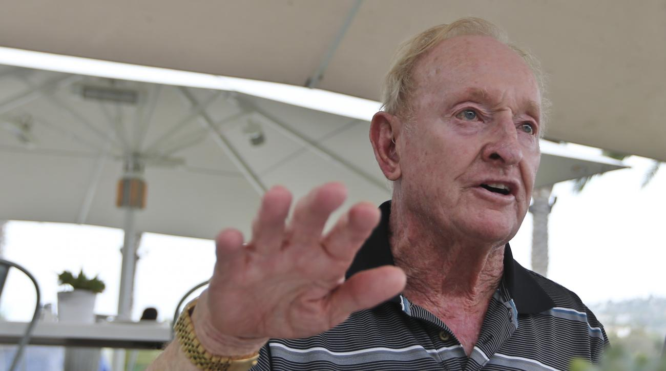 In this photo taken Tuesday, June 21, 2016,  Australian tennis legend Rod Laver talks about winning the Grand Slam twice in his illustrious career in Carlsbad, Calif. Laver is the last player to accomplish the feat in 1969, but is threatened this year wit