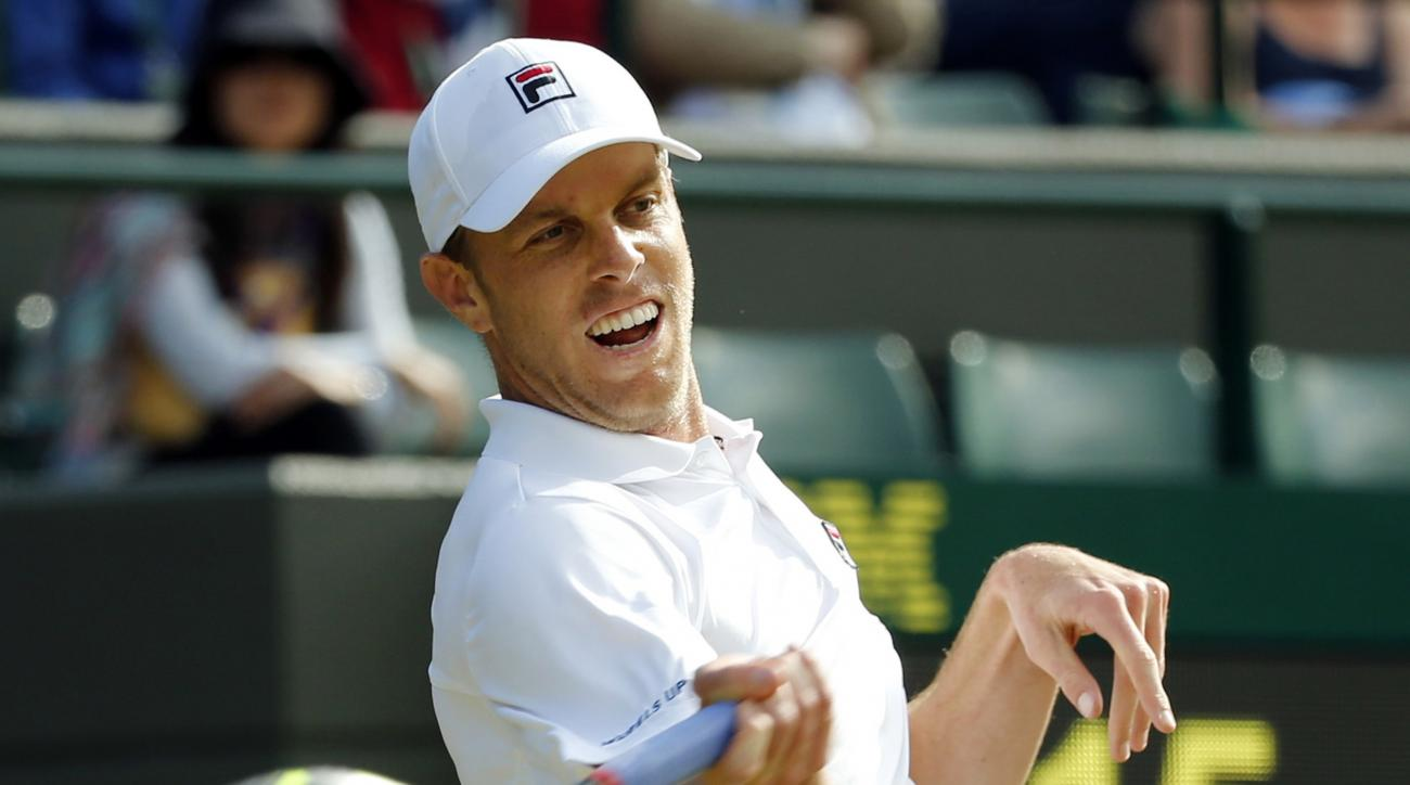FILE - In this July 2, 2016, file photo, Sam Querrey, of the U.S., returns to Novak Djokovic, of Serbia, during their men's singles match on day six of the Wimbledon Tennis Championships in London. The guy who defeated Djokovic at Wimbledon is ready to ge