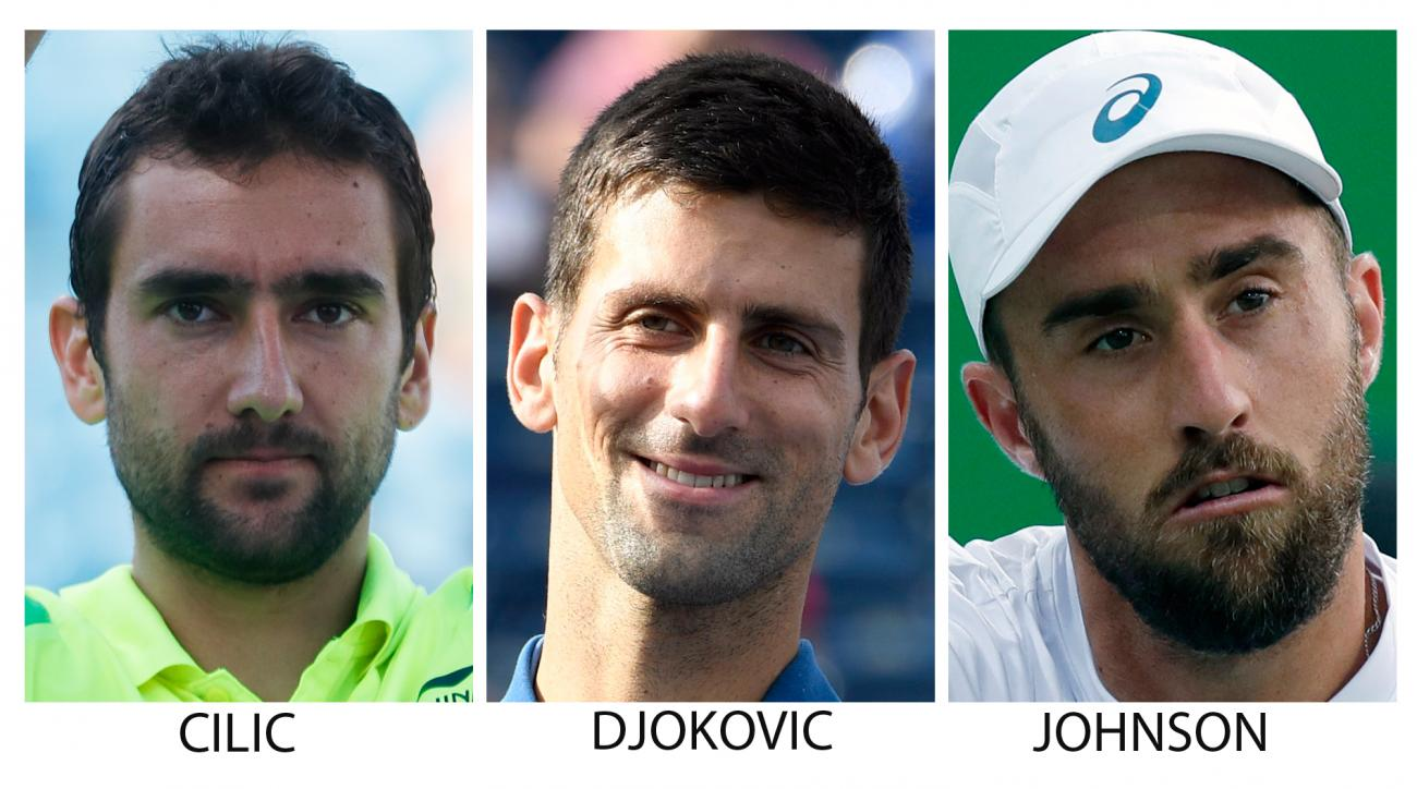 FILE - Theses 2016 file photos show, top row from left, Marin Cilic, of Croatia; Novak Djokovic, of Serbia; and Steve Johnson, of the United States. Bottom row from left are, Juan Martin del Potro, of Argentina; Andy Murray, of Britain; and Rafael Nadal,
