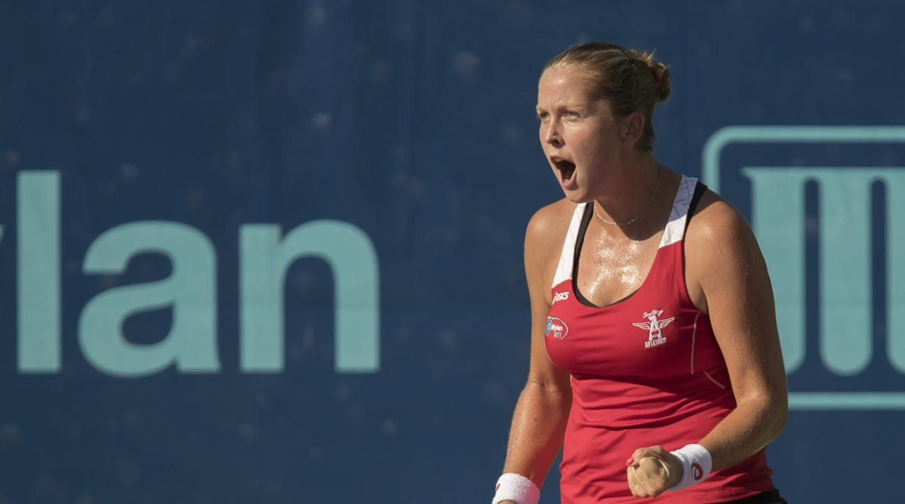 In a photo provided by World TeamTennis, San Diego Aviators' Shelby Rogers reacts during her match against Orange County Breakers' Nicole Gibbs during the World TeamTennis final, Friday, Aug. 26, 2016, in New York. (Susan Mullane/Camerawork USA via World