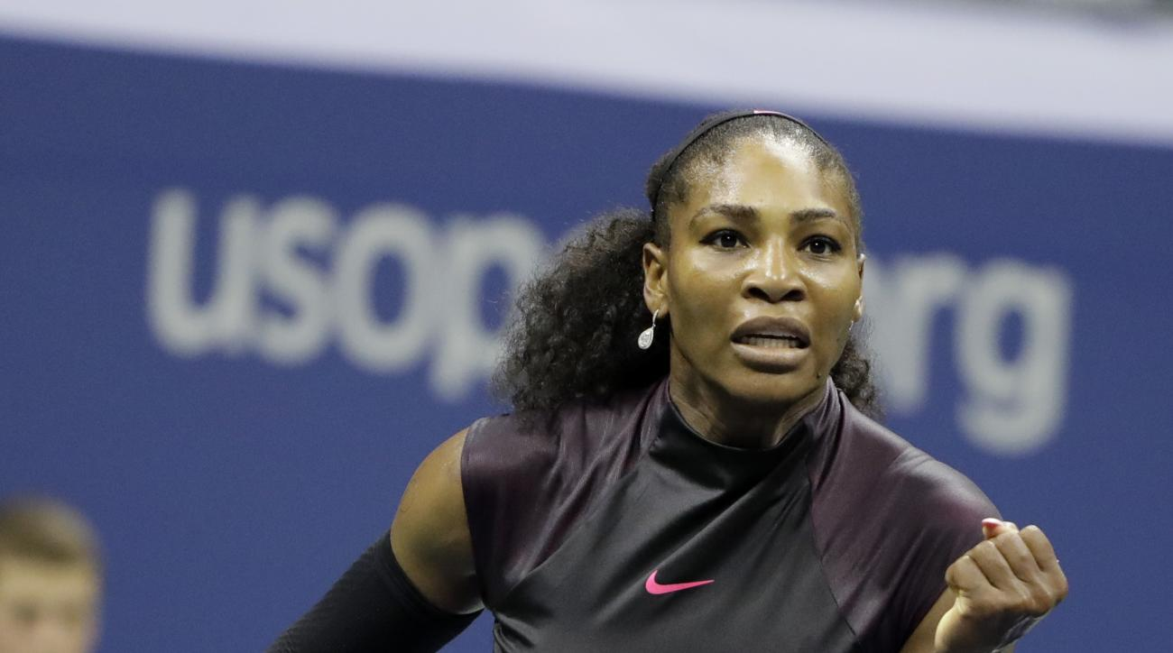 Serena Williams reacts during her match against Ekaterina Makarova, of Russia, in the first round of the U.S. Open tennis tournament, Tuesday, Aug. 30, 2016, in New York. (AP Photo/Darron Cummings)