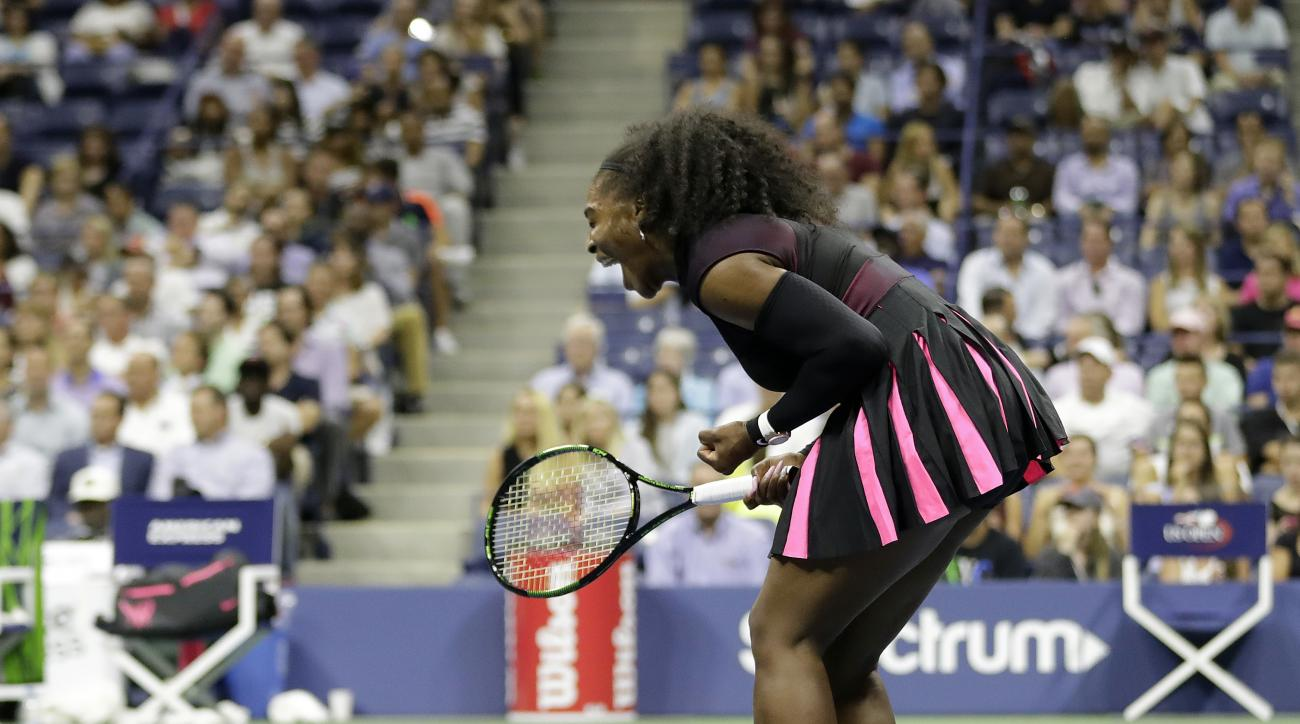 Serena Williams reacts after winning a point against Vania King during the second round of the U.S. Open tennis tournament, Thursday, Sept. 1, 2016, in New York. (AP Photo/Darron Cummings)