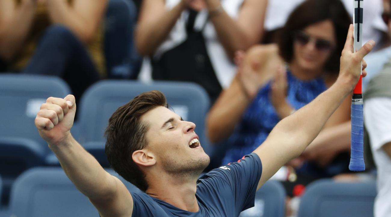 Dominic Thiem, of Austria, reacts after defeating Pablo Carreno Busta, of Spain, during the third round of the U.S. Open tennis tournament, Saturday, Sept. 3, 2016, in New York. (AP Photo/Alex Brandon)